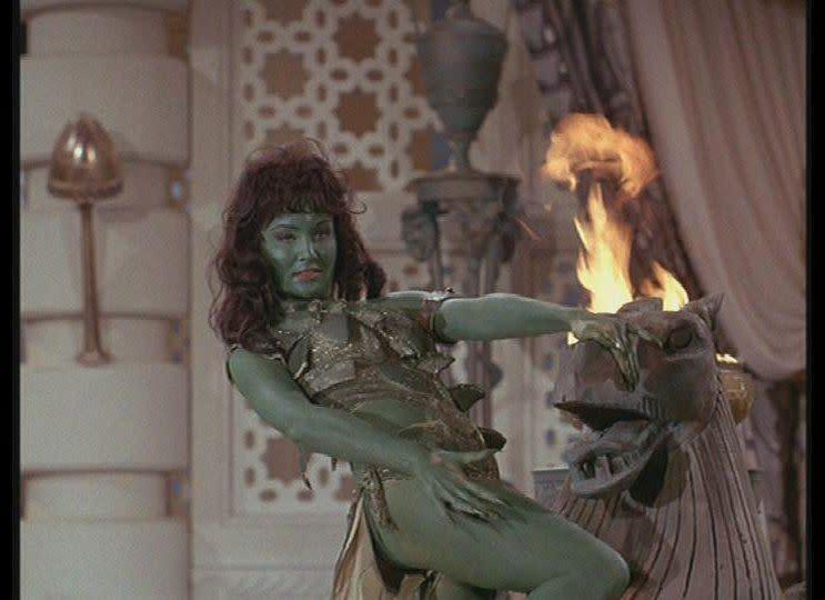 """Is that the Jolly Green Giant's daughter? No, just Vina, the Orion slave girl. (Via <a href=""""http://en.wikipedia.org/wiki/Orion_%28Star_Trek%29"""" rel=""""nofollow noopener"""" target=""""_blank"""" data-ylk=""""slk:Wikipedia"""" class=""""link rapid-noclick-resp"""">Wikipedia</a>)"""