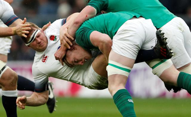 Rugby Union - Six Nations Championship - England vs Ireland - Twickenham Stadium, London, Britain - March 17, 2018 England's Dylan Hartley is tackled Action Images via Reuters/Andrew Boyers TPX IMAGES OF THE DAY