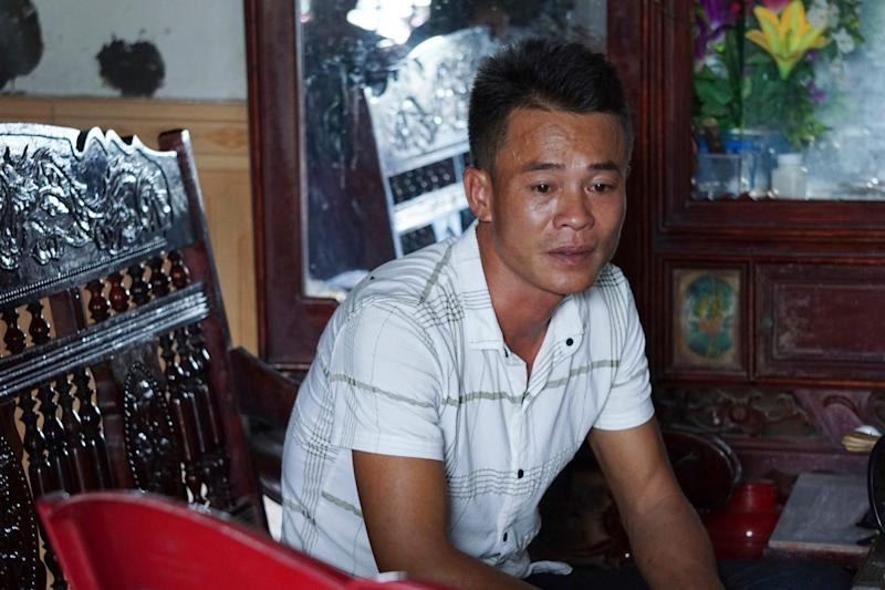Vo Ngoc Chuyen, brother of Vo Ngoc Nam, speaks to media at his home in Yen Thanh district, Nghe An province, Vietnam, on Oct. 27, 2019.