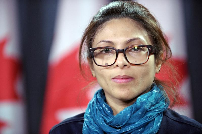 Ensaf Haidar -- the wife of the Raef Badawi -- has called on Canada and other countries to plead on Saudi Arabia to free her husband (AFP Photo/Marc Braibant)