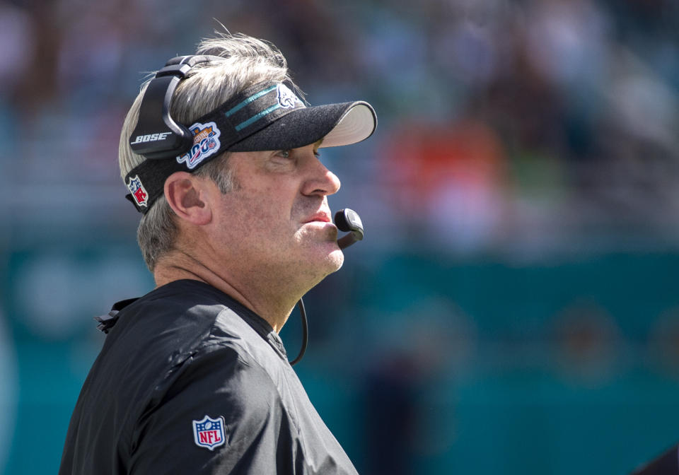 Philadelphia Eagles head coach Doug Pederson tested positive for the coronavirus on Sunday. (Doug Murray/Icon Sportswire/Getty Images)