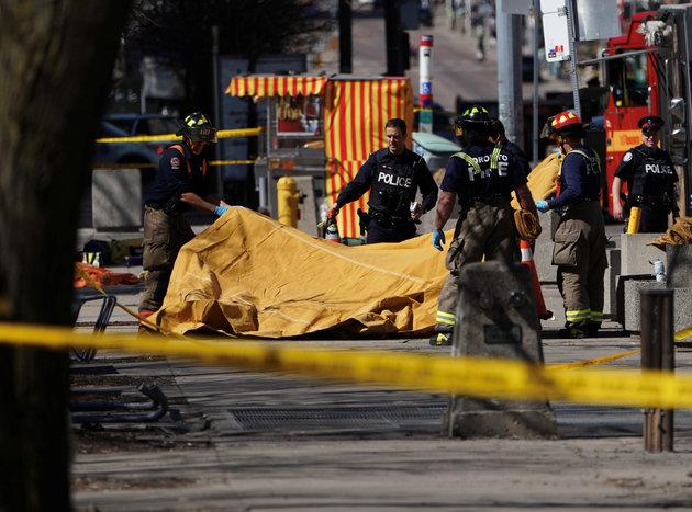 Policeand first responders on the scene at Yonge Street in Toronto.