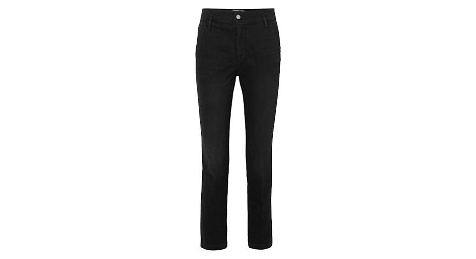 """<p>Everyone needs a solid pair of black jeans for autumn to wear with literally everything, so make it these. <br><a rel=""""nofollow noopener"""" href=""""https://www.net-a-porter.com/gb/en/product/1074940/J_Brand/ruby-cropped-high-rise-slim-leg-jeans"""" target=""""_blank"""" data-ylk=""""slk:Buy here."""" class=""""link rapid-noclick-resp"""">Buy here.</a> </p>"""