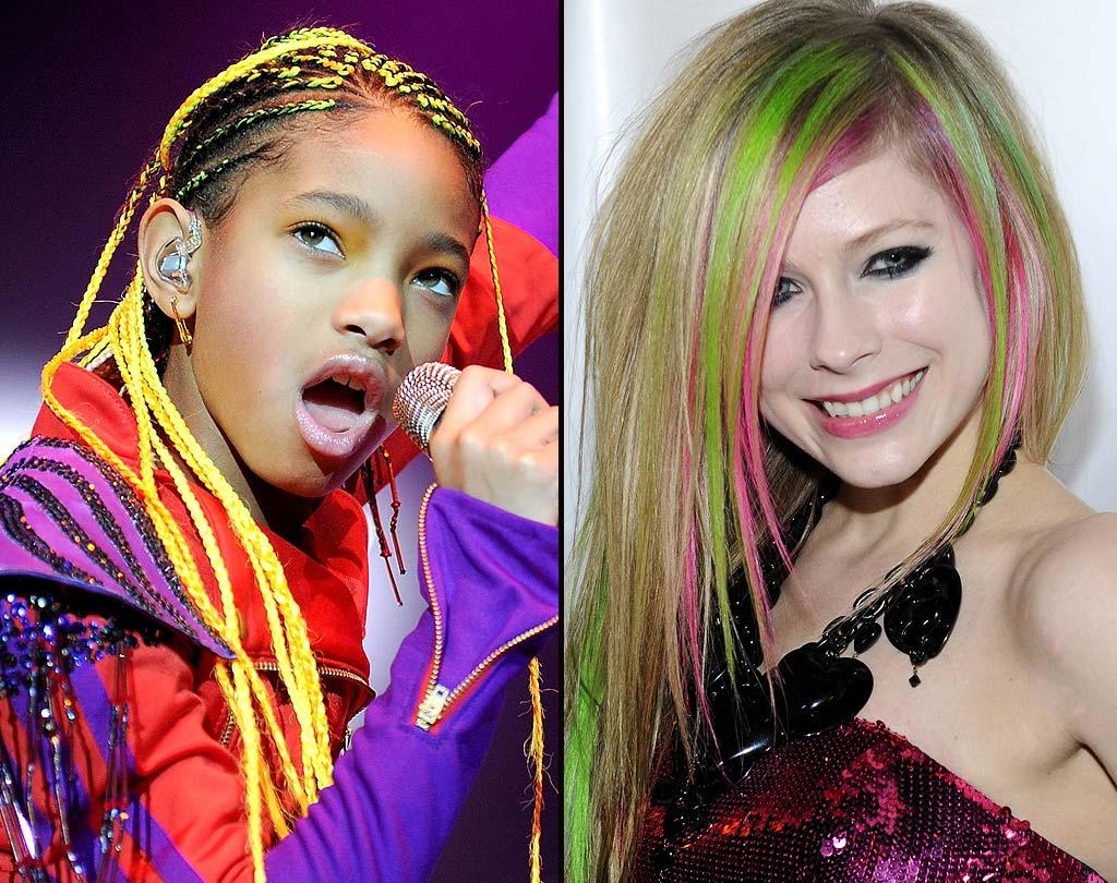 """The big age difference here makes the choice clear as to whether 10-year-old """"Whip My Hair"""" singer Willow Smith or her 26-year-old competition, <i>Goodbye Lullaby</i> rocker Avril Lavigne, dons neon strands best. For us, it's a look always better worn on a little girl, not a woman! Which of the two do you think wins this fluorescent feud? <a href=""""http://www.wireimage.com"""" target=""""new"""">WireImage.com</a> - March 1, 2011"""