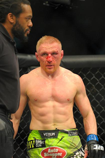 Jan 18, 2015; Boston, MA, USA; Dennis Siver after his loss to Conor McGregor (not pictured) during a featherweight bout at UFC Fight Night at TD Garden. (Bob DeChiara-USA TODAY Sports)