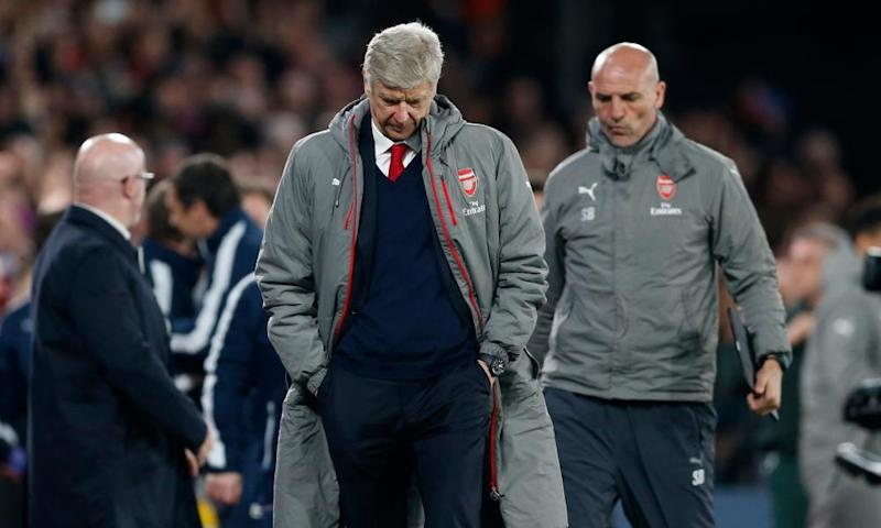 Arsène Wenger looks dejected on the final whistle.
