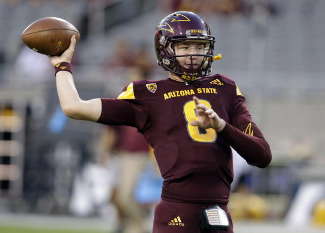FILE - In this Sept. 23, 2017, file photo, Arizona State quarterback Blake Barnett warms up before an NCAA college football game against Oregon, in Tempe, Ariz. The former Alabama and Arizona State quarterback, once a five-star recruit, has transferred to South Florida, where he'll be immediately eligible to play with two seasons remaining, USF announced Friday, May 18, 2018. (AP Photo/Rick Scuteri, File)