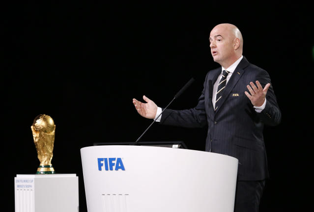 FIFA President Gianni Infantino delivers a speech at the FIFA congress on the eve of the opener of the 2018 soccer World Cup in Moscow, Russia, Wednesday, June 13, 2018. The congress in Moscow is set to choose the host or hosts for the 2026 World Cup. (AP Photo/Alexander Zemlianichenko)