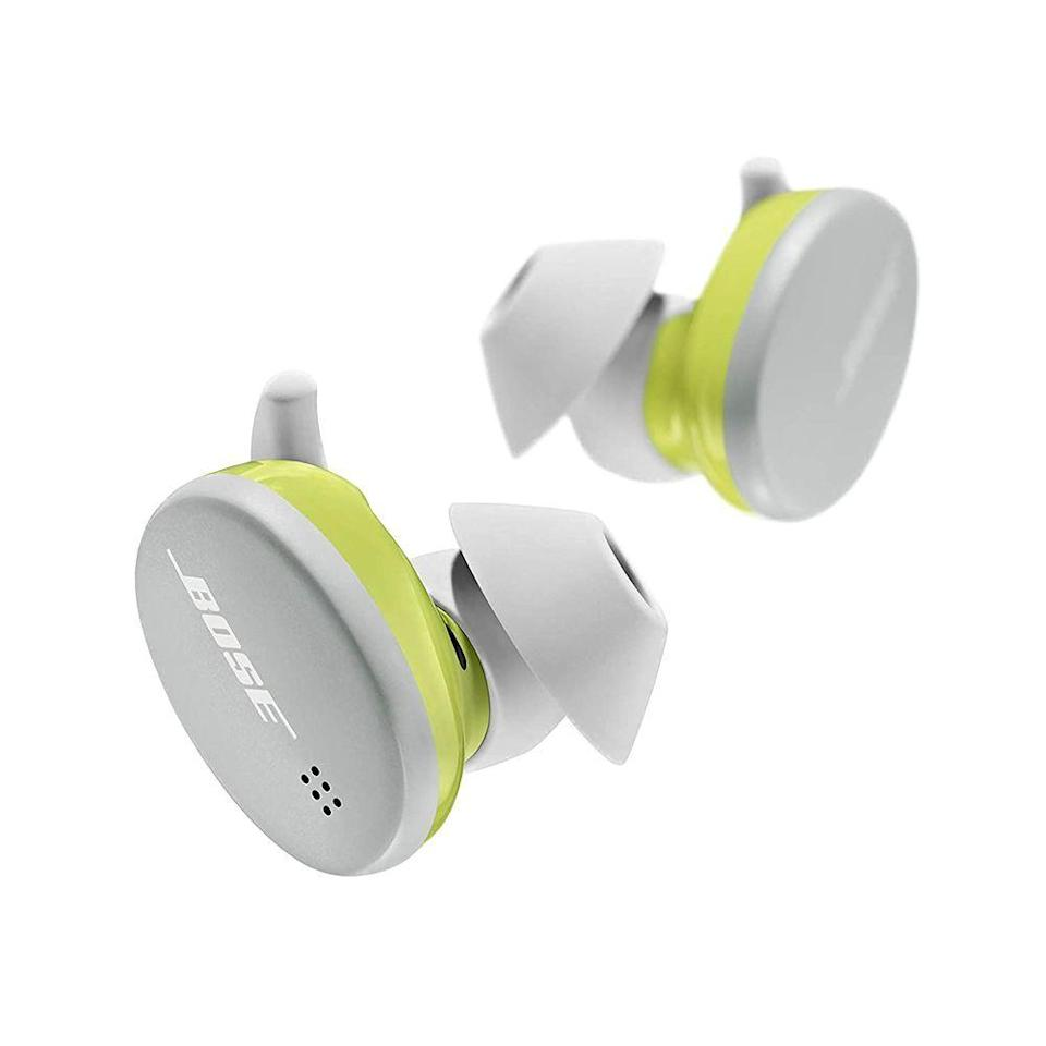 """<p><strong>Bose</strong></p><p>amazon.com</p><p><strong>$159.00</strong></p><p><a href=""""https://www.amazon.com/dp/B08CJFYBBZ?tag=syn-yahoo-20&ascsubtag=%5Bartid%7C10051.g.36317445%5Bsrc%7Cyahoo-us"""" rel=""""nofollow noopener"""" target=""""_blank"""" data-ylk=""""slk:Shop Now"""" class=""""link rapid-noclick-resp"""">Shop Now</a></p><p>Upgrade her workout audio situation with the cat's meow of workout headphones. Bose Sport bluetooth earbuds have a comfy, secure fit and can get 2 hours of battery life from just a 15-minute charge.</p>"""
