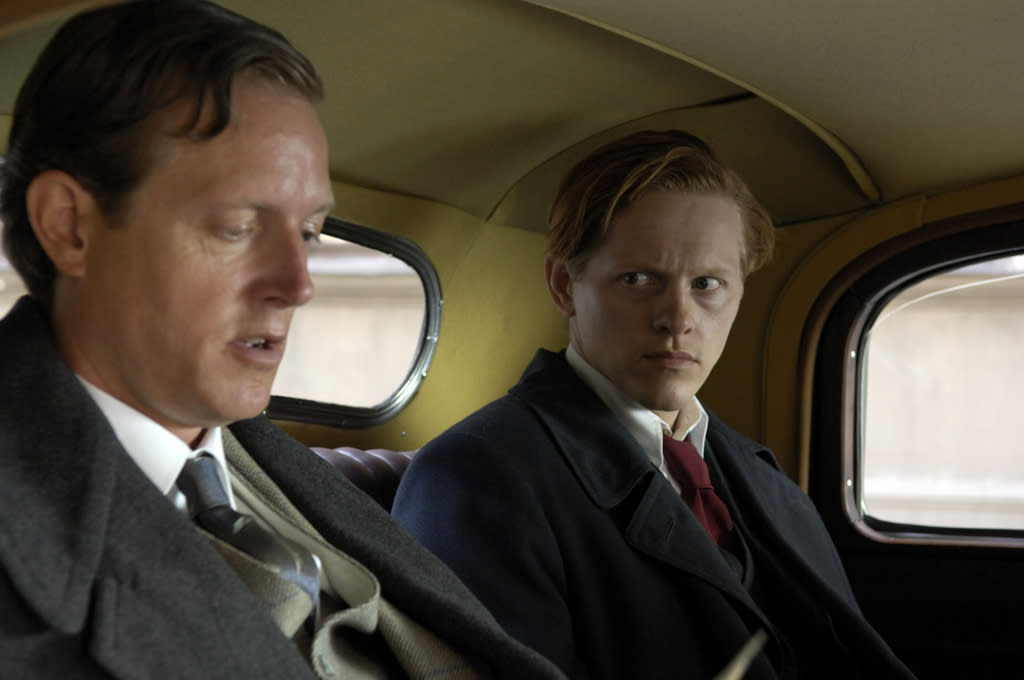 """<a href=""""http://movies.yahoo.com/movie/contributor/1804538664"""">Peter Mygind</a> and <a href=""""http://movies.yahoo.com/movie/contributor/1808881438"""">Thure Lindhardt</a> in IFC Films' <a href=""""http://movies.yahoo.com/movie/1809989964/info"""">Flame & Citron</a> - 2009"""
