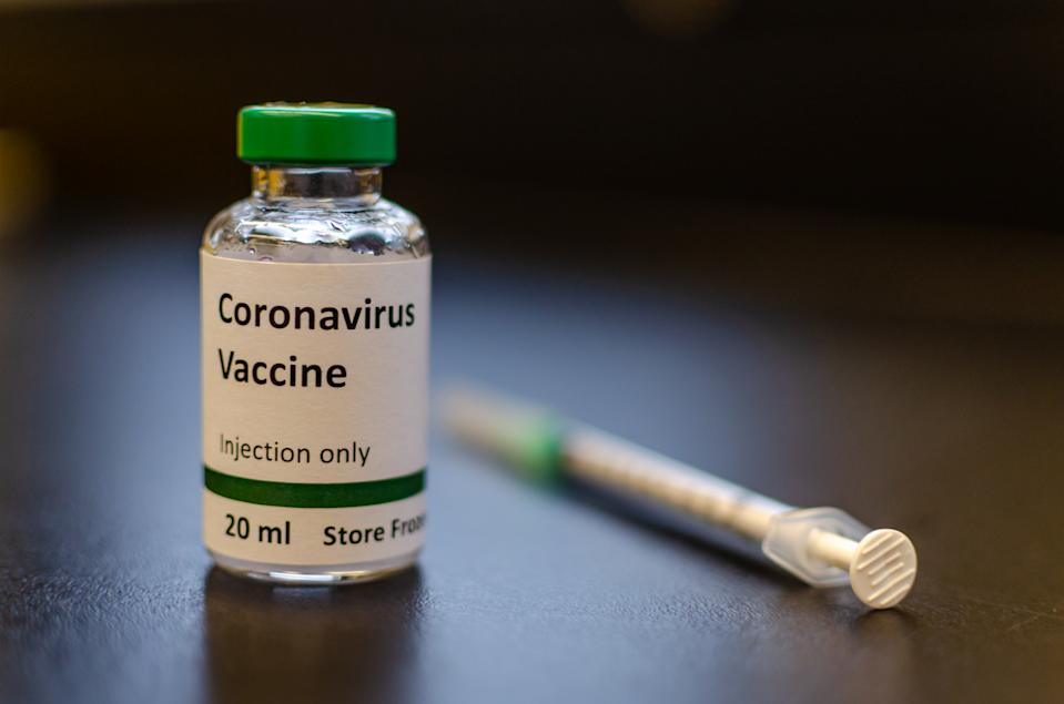 A vial labelled as coronavirus vaccine for photography purpose only