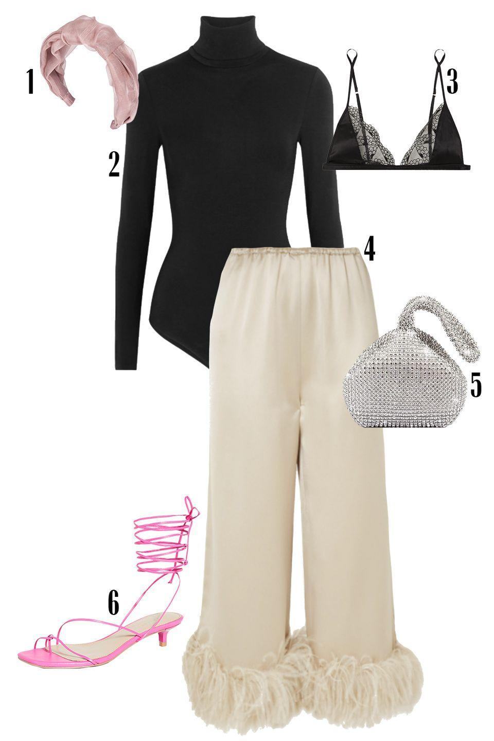 """<p>Get the party started by pairing your black turtleneck with these satin and feather-trimmed pants that are sure to catch everyone's eye. Add equally exciting accessories like a crystal embellished bag, pink kitten heels, and a matching headband. </p><p> Shop the pieces: <em><a href=""""https://www.jenniferbehr.com/products/fanny-headband-in-silk-organza?variant=Dusty%20Rose"""" rel=""""nofollow noopener"""" target=""""_blank"""" data-ylk=""""slk:Jennifer Behr Headband"""" class=""""link rapid-noclick-resp"""">Jennifer Behr Headband</a></em><em>,</em> $198; <em><a href=""""https://www.net-a-porter.com/en-us/shop/product/wolford/colorado-thong-bodysuit/618045"""" rel=""""nofollow noopener"""" target=""""_blank"""" data-ylk=""""slk:Wolford Colorado Bodysuit"""" class=""""link rapid-noclick-resp"""">Wolford Colorado Bodysuit</a></em>, $250; <em><a href=""""https://www.net-a-porter.com/en-us/shop/product/coco-de-mer/evita-scalloped-lace-and-stretch-satin-soft-cup-triangle-bra/1310365"""" rel=""""nofollow noopener"""" target=""""_blank"""" data-ylk=""""slk:Coco De Mar Bralette"""" class=""""link rapid-noclick-resp"""">Coco De Mar Bralette</a></em>, $195; <em><a href=""""https://www.net-a-porter.com/en-us/shop/product/16arlington/mandrake-feather-trimmed-satin-wide-leg-pants/1318850"""" rel=""""nofollow noopener"""" target=""""_blank"""" data-ylk=""""slk:16 Arlington Pants"""" class=""""link rapid-noclick-resp"""">16 Arlington Pants</a>,</em> $1,020; <em><a href=""""https://www.amazon.com/Triangle-Rhinestones-Fashion-Evening-Wedding/dp/B01CDUKAPE/ref=sr_1_5?dchild=1&keywords=SILVER+MINI+BAG&qid=1612820476&sr=8-5"""" rel=""""nofollow noopener"""" target=""""_blank"""" data-ylk=""""slk:Evening Clutch"""" class=""""link rapid-noclick-resp"""">Evening Clutch</a></em>, $16, <em><a href=""""https://www.shopbop.com/river-sandal-villa-rouge/vp/v=1/1514517648.htm?folderID=13446&fm=other-shopbysize-viewall&os=false&colorId=11411&ref_=SB_PLP_EC_100&breadcrumb=Shoes%3ESandals%3ELow%20Heel%20(1%27%27%20-%202%27%27)"""" rel=""""nofollow noopener"""" target=""""_blank"""" data-ylk=""""slk:Villa Rouge Sandal"""" class=""""link rapid-noclick-resp"""">Villa Rouge """