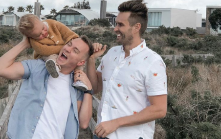 Gay parenting influencers Christian Newman and Mark Edwards, who live in Avondale, New Zealand and have a son, Francis, shared the clip of the New Conservative activist