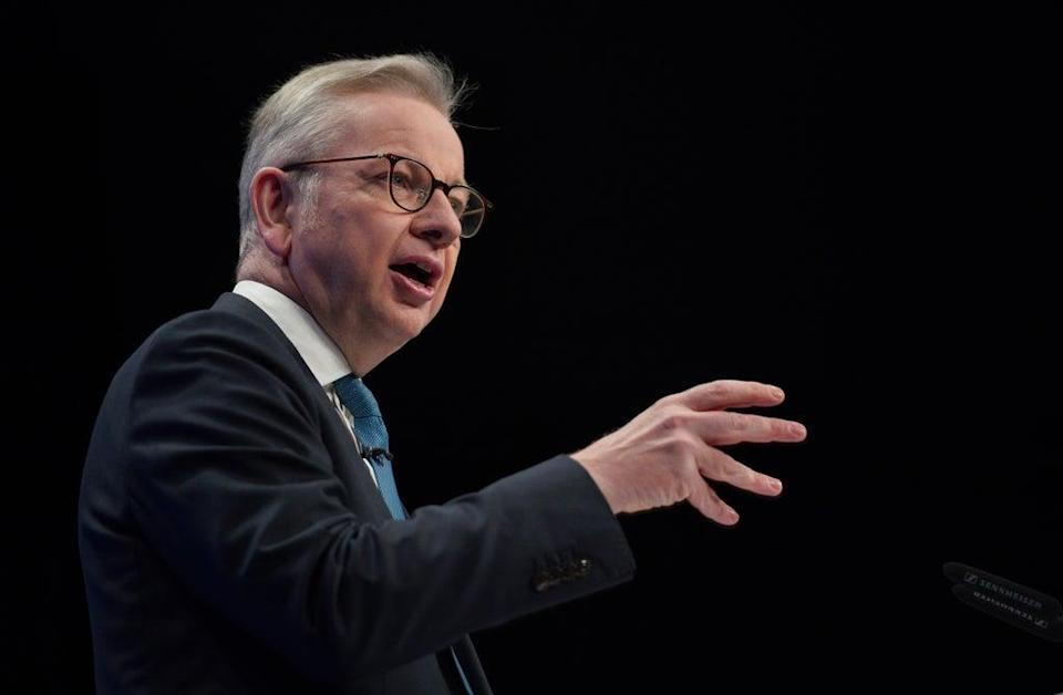 Communities Secretary Michael Gove giving his keynote address (Peter Byrne/PA) (PA Wire)