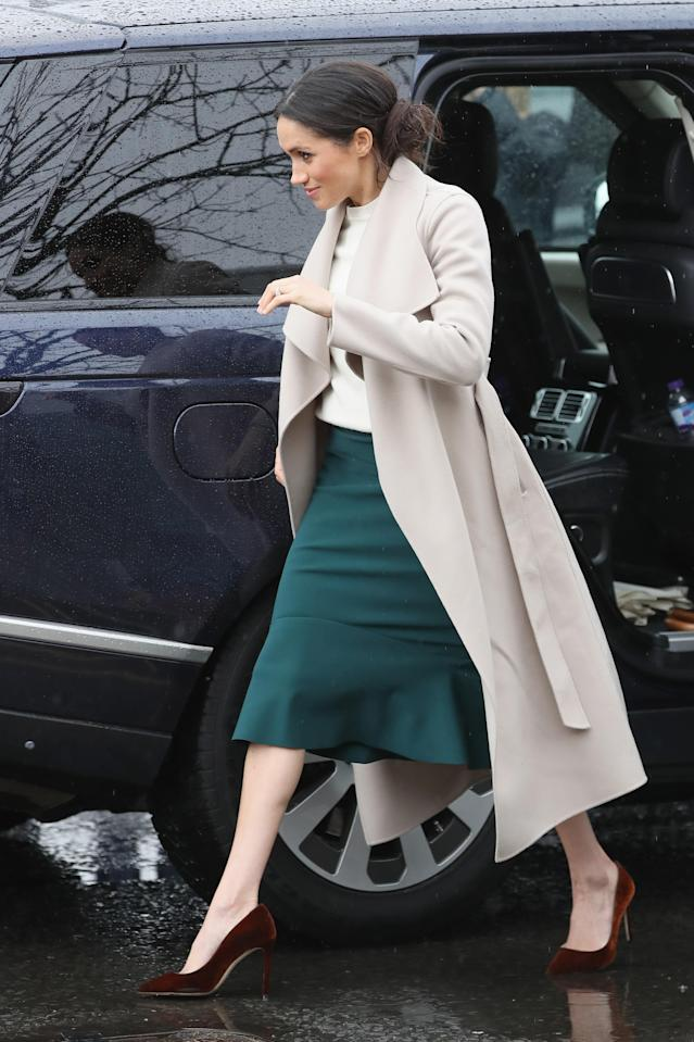 Meghan Markle visited Northern Ireland in March wearing a green skirt. (Photo: Getty Images)