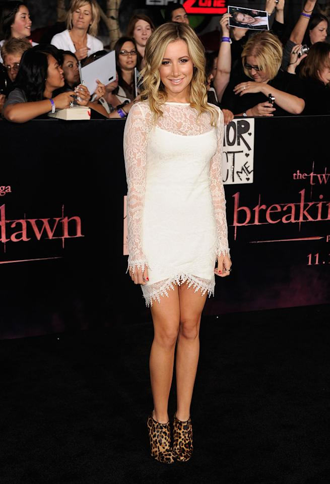 "<a href=""http://movies.yahoo.com/movie/contributor/1804504114"">Ashley Tisdale</a> at the Los Angeles premiere of <a href=""http://movies.yahoo.com/movie/1810158314/info"">The Twilight Saga: Breaking Dawn - Part 1</a> on November 14, 2011."