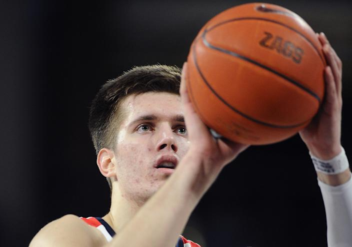 Feb 29, 2020; Spokane, Washington, USA; Gonzaga Bulldogs forward Filip Petrusev (3) attempts a free throw against the St. Mary's Gaels in the first half at McCarthey Athletic Center. The Bulldogs won 86-76.