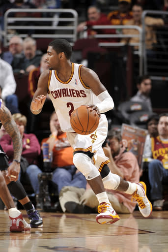 CLEVELAND, OH - FEBRUARY 19: Kyrie Irving #2 of the Cleveland Cavaliers drives around the perimeter against the Sacramento Kings at The Quicken Loans Arena on February 19, 2012 in Cleveland, Ohio. (Photo by David Liam Kyle/NBAE via Getty Images)