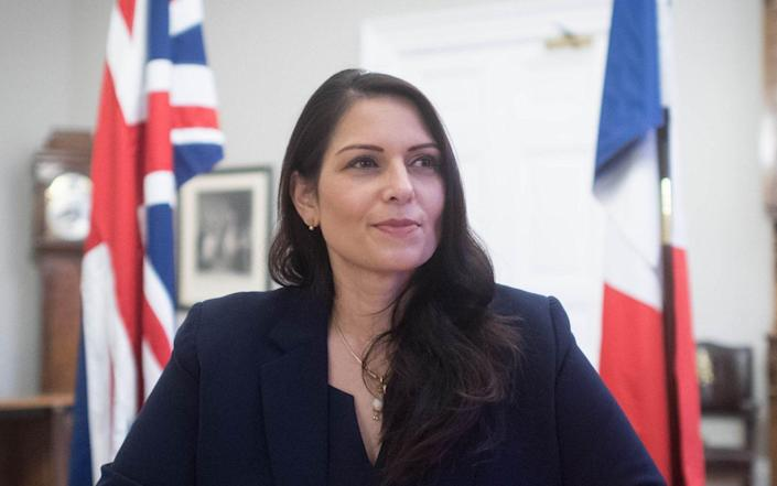 Home Secretary Priti Patel at the Home Office in central London, where she signed a new agreement with her French counterpart Gerald Darmanin aimed at curbing the number of migrants crossing the English Channel in small boats. PA Photo. Picture date: Saturday November 28, 2020. They agreed to double the number of French police patrolling a 150km stretch of coastline targeted by people-smuggling networks. - Stefan Rousseau/PA Wire