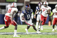 Mississippi wide receiver Dontario Drummond (11) runs after catching a pass against Austin Peay during an NCAA college football game in Oxford, Miss., Saturday, Sept. 11, 2021. (AP Photo/Bruce Newman)