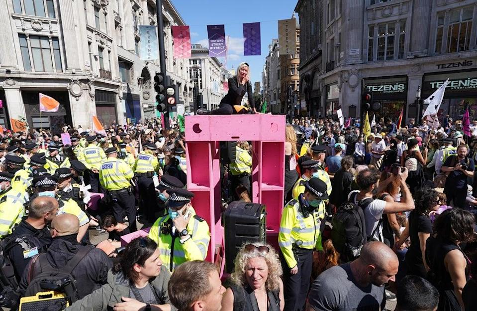 Demonstrators during a protest by Extinction Rebellion at Oxford Circus (Stefan Rousseau/PA) (PA Wire)
