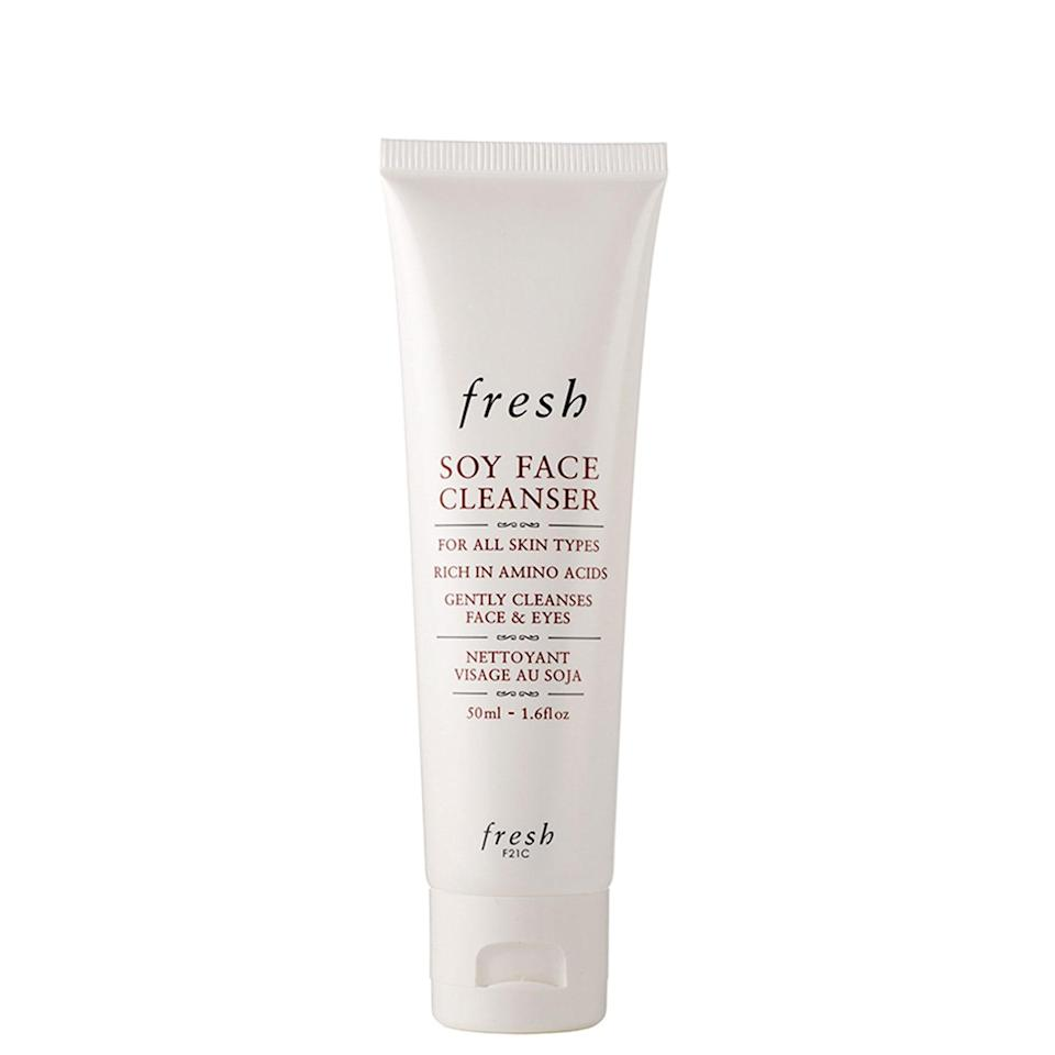 """<p>There's a reason why nearly 5,000 beauty fans have gone public with their love for Fresh's Soy Face Cleanser. It works — really, really well — and is gentle as all hell. The ultra-soothing formula is spiked with a cocktail of skin calmers like rosewater, aloe vera, and cucumber, which make the whole cleansing experience feel a bit more spa-like. It's also infused with soy proteins that deliver a supple (instead of stiff) post-cleanse result.</p> <p><strong>$38</strong> (<a href=""""https://shop-links.co/1689626417943559933"""" rel=""""nofollow noopener"""" target=""""_blank"""" data-ylk=""""slk:Shop Now"""" class=""""link rapid-noclick-resp"""">Shop Now</a>)</p>"""