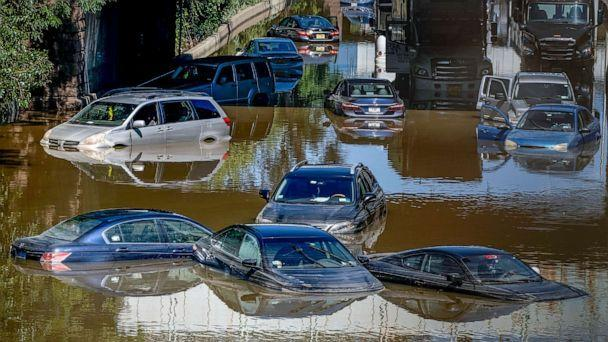 PHOTO: Cars and trucks left stranded in high water on an expressway after flash flooding in New York, from Hurricane Ida, Sept. 2, 2021. (Craig Ruttle/AP)
