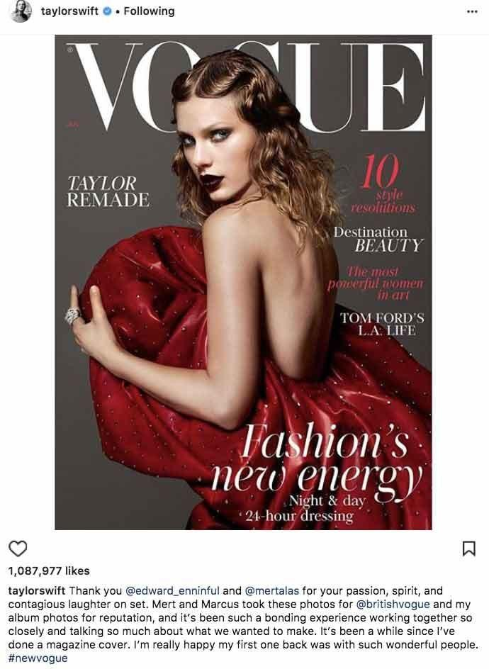 Taylor posted this innocent Instagram photo of her Vogue cover. Source: Mert Alas / Instagram