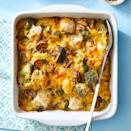 """<p>In this version of a chicken-and-broccoli casserole, spaghetti squash takes on a creamy texture when baked with cream of mushroom soup. <a href=""""http://www.eatingwell.com/recipe/270563/chicken-spaghetti-squash-bake/"""" rel=""""nofollow noopener"""" target=""""_blank"""" data-ylk=""""slk:View recipe"""" class=""""link rapid-noclick-resp""""> View recipe </a></p>"""
