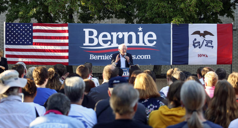 Democratic presidential candidate U.S. Sen. Bernie Sanders, I-Vt., speaks during a brief campaign stop at Town Clock Plaza in Dubuque, Iowa, Sept. 23, 2019. (Photo: Nicki Kohl/Telegraph Herald via AP)