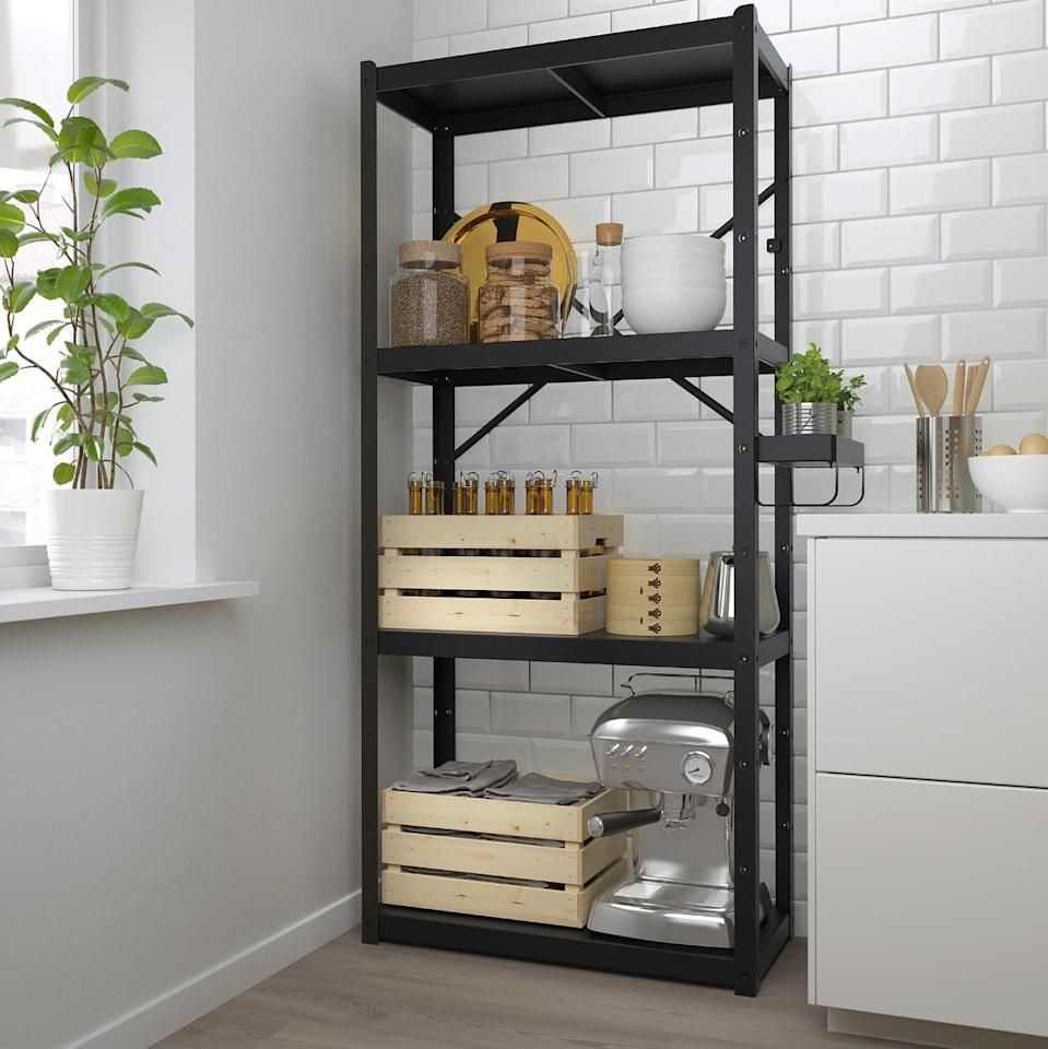 "<p>The <a href=""https://www.popsugar.com/buy/Bror%20Shelving%20Unit-447017?p_name=Bror%20Shelving%20Unit&retailer=ikea.com&price=94&evar1=casa%3Aus&evar9=46151613&evar98=https%3A%2F%2Fwww.popsugar.com%2Fhome%2Fphoto-gallery%2F46151613%2Fimage%2F46152207%2FBror-Shelving-Unit&list1=shopping%2Cikea%2Corganization%2Ckitchens%2Chome%20shopping&prop13=api&pdata=1"" rel=""nofollow noopener"" target=""_blank"" data-ylk=""slk:Bror Shelving Unit"" class=""link rapid-noclick-resp"">Bror Shelving Unit</a> ($94) can withstand rust, moisture, and dirt, while also being home to kitchen appliances, food, and cookbooks.</p>"