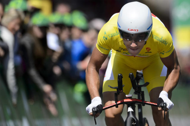 Second placed Slovenian cyclist Simon Spilak of team Katusha, competes during the 5th and last stage, a 18,5 km race against the clock, at the 68th Tour de Romandie UCI ProTour cycling race in the Stadium Maladiere in Neuchatel, Switzerland, Sunday, May 4, 2014. (AP Photo/Keystone, Laurent Gillieron)