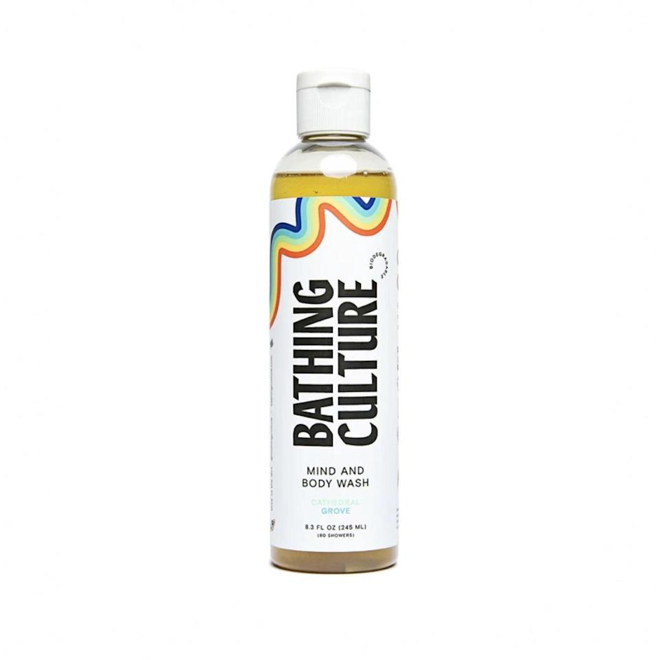 """Enter Bathing Culture. The brand's site says this scent """"will transport you to the Redwood canopies of Northern California,"""" and they're not wrong. This woodsy fragrance is unlike any other body wash on the market, but it's not overpowering, and the silky, sustainable formula is one you'll want to keep around for the long haul—so you might want to go for the <a href=""""https://fave.co/2WUbucl"""" rel=""""nofollow noopener"""" target=""""_blank"""" data-ylk=""""slk:jumbo refillable bottle"""" class=""""link rapid-noclick-resp"""">jumbo refillable bottle</a> straightaway. $20, Bathing Culture. <a href=""""https://bathingculture.com/collections/everything/products/mind-and-body-wash-1?"""" rel=""""nofollow noopener"""" target=""""_blank"""" data-ylk=""""slk:Get it now!"""" class=""""link rapid-noclick-resp"""">Get it now!</a>"""