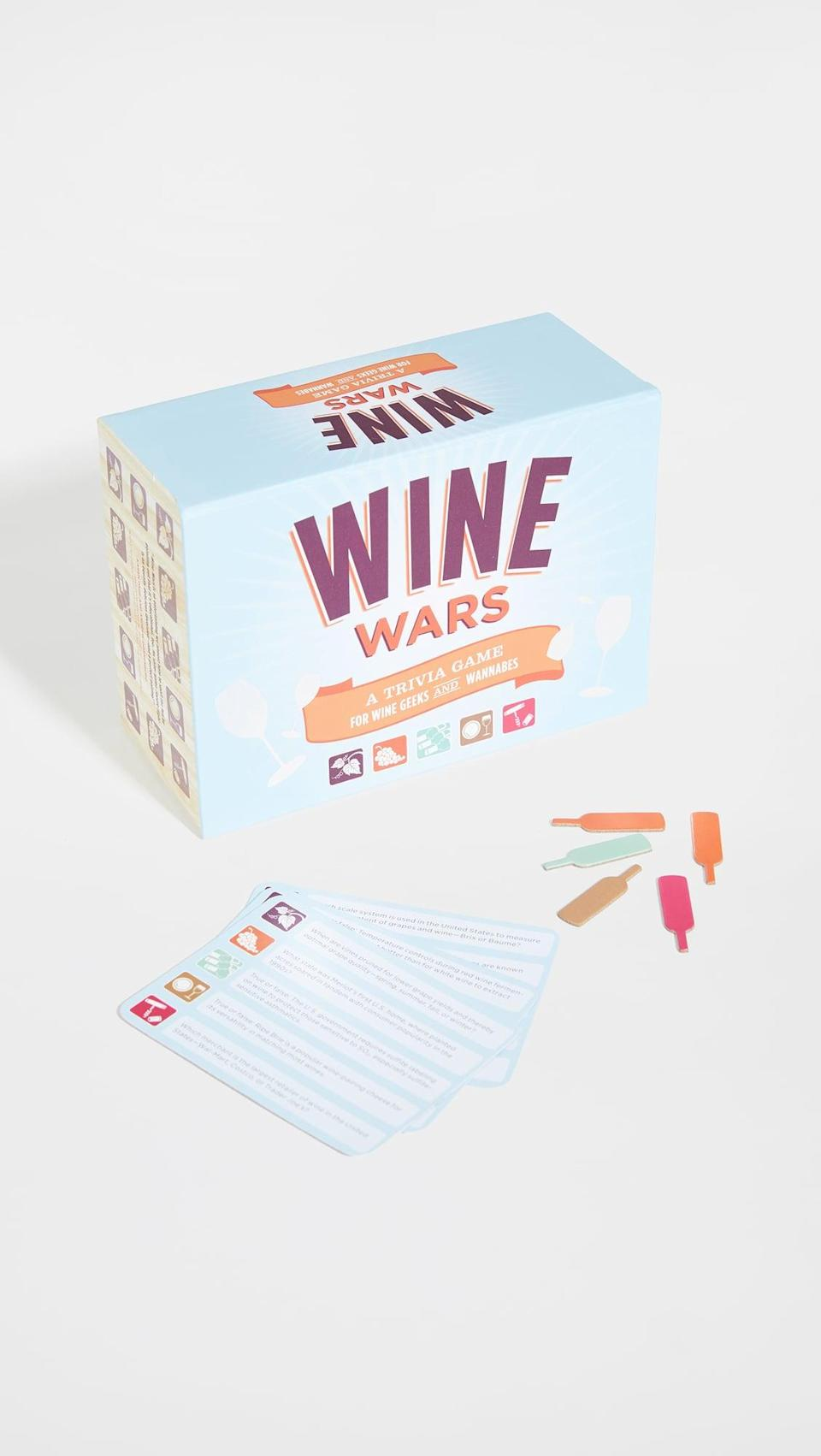 <p>This <span>Wine Wars: A Trivia Game For Wine Geeks and Wannabes</span> ($25) will make for a fun time, so pour yourself and loved ones some wine and gather around. It comes with 150 cards and 750 questions, no joke!</p>