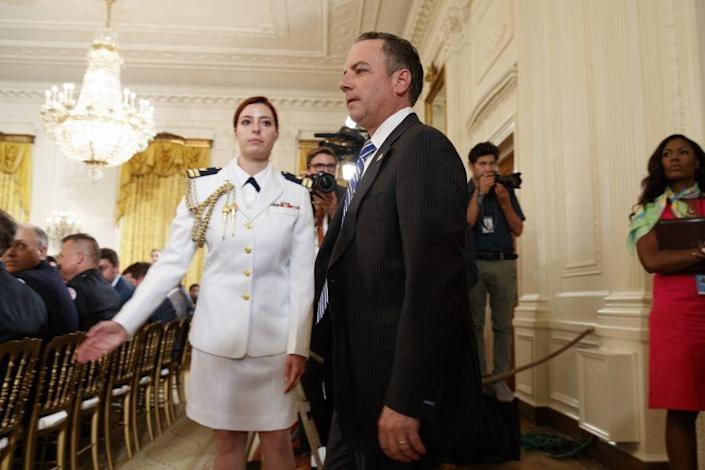 White House chief of staff Reince Priebus arrives in the East Room of the White House, July 27, 2017. (Photo: Evan Vucci/AP)