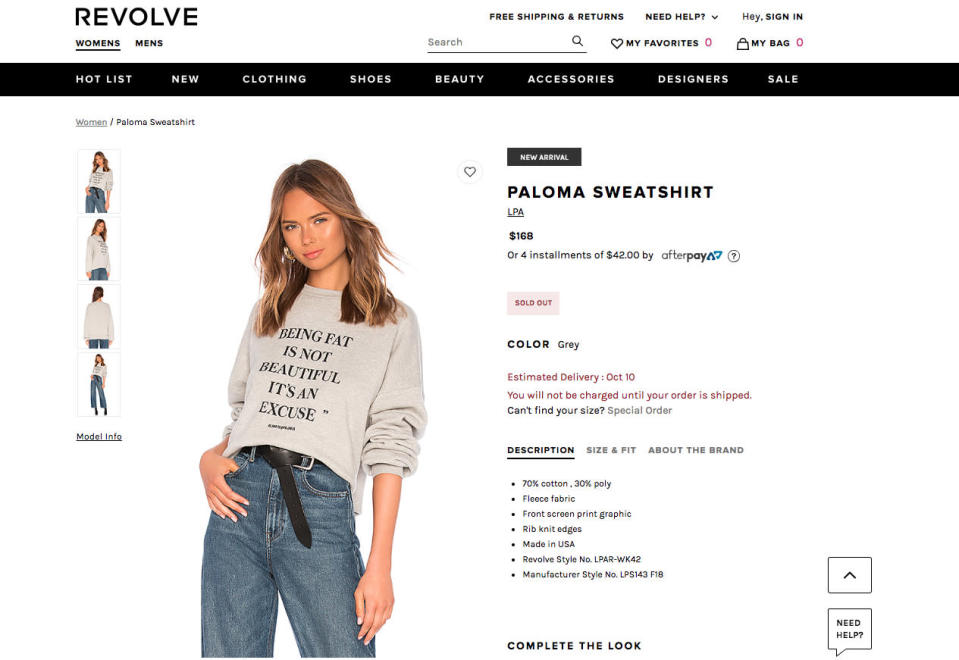 Revolve is being dragged through the mud for releasing a fat-shaming sweatshirt. (Photo: Revolve)