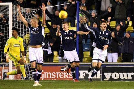 Soccer Football - Championship - Millwall vs Sheffield United - The Den, London, Britain - December 2, 2017 Millwall's Jake Cooper celebrates scoring their third goal Action Images/Tony O'Brien