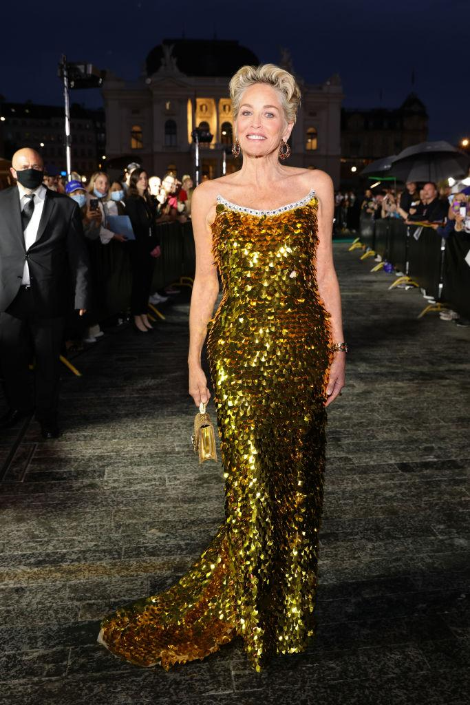 Sharon Stone is proving age is just a number, pictured in Zurich, September 2021. (Getty Images)