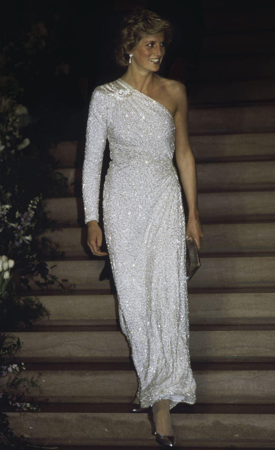 <p>The late, beloved Princess of Wales wore a crystal beaded gown by Japanese designer Hachi to a Washington D.C. gala in 1985.</p>