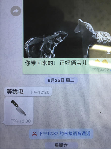 "This photo shows the last message sent by missing Interpol President, Meng Hongwei, to his wife, Grace Meng. Mrs. Meng showed reporters the message, on her mobile phone, during a press conference in Lyon, central France, Sunday Oct. 7, 2018, where Interpol is based. The message from Meng at 12:26 on Sept. 26 says ""wait for my call."" Four minutes later, he sent the photo of the knife. Earlier that day she had sent him a photo of two animal figurines, one of a bear and another of a horse, meant to represent their two children; one of them loves horses, she said, and the other ""looks like the bear."" (AP Photo/John Leicester)"