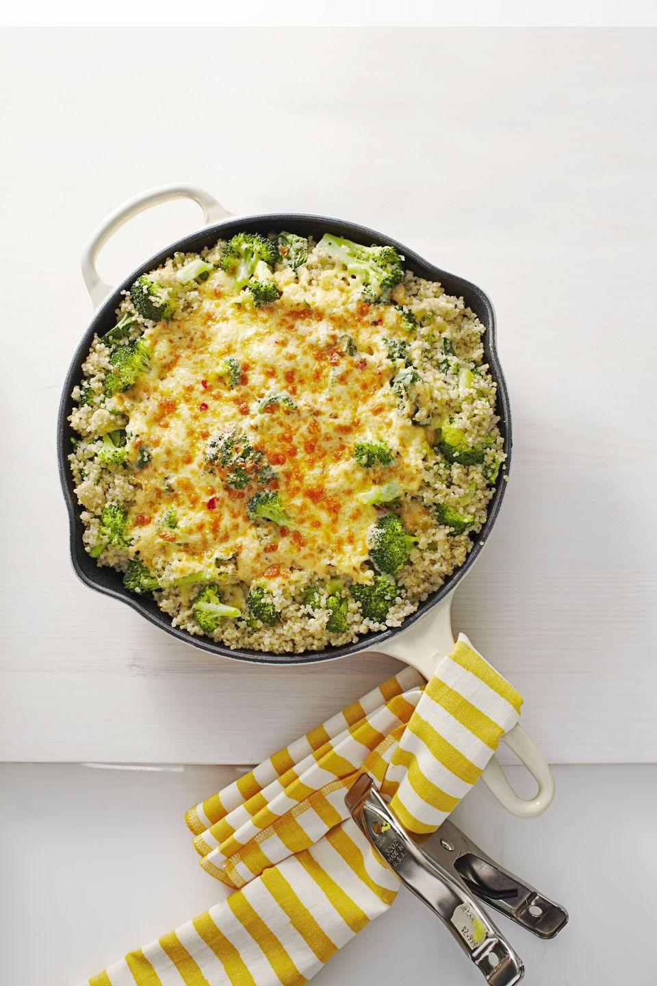 """<p>If you're looking to make a smart swap for classic <a href=""""https://www.goodhousekeeping.com/food-recipes/easy/g3687/best-macaroni-and-cheese-recipes/"""" rel=""""nofollow noopener"""" target=""""_blank"""" data-ylk=""""slk:mac and cheese"""" class=""""link rapid-noclick-resp"""">mac and cheese</a>, this cheesy broccoli quinoa bake is perfect for you. You'll feel great knowing its just under 350 calories for a few big spoonfuls.</p><p><a href=""""https://www.goodhousekeeping.com/food-recipes/a16335/baked-pepper-jack-quinoa-skillet-recipe-ghk0115/"""" rel=""""nofollow noopener"""" target=""""_blank"""" data-ylk=""""slk:Get the recipe for Baked Pepper Jack Quinoa Skillet »"""" class=""""link rapid-noclick-resp""""><em>Get the recipe for Baked Pepper Jack Quinoa Skillet »</em></a></p>"""