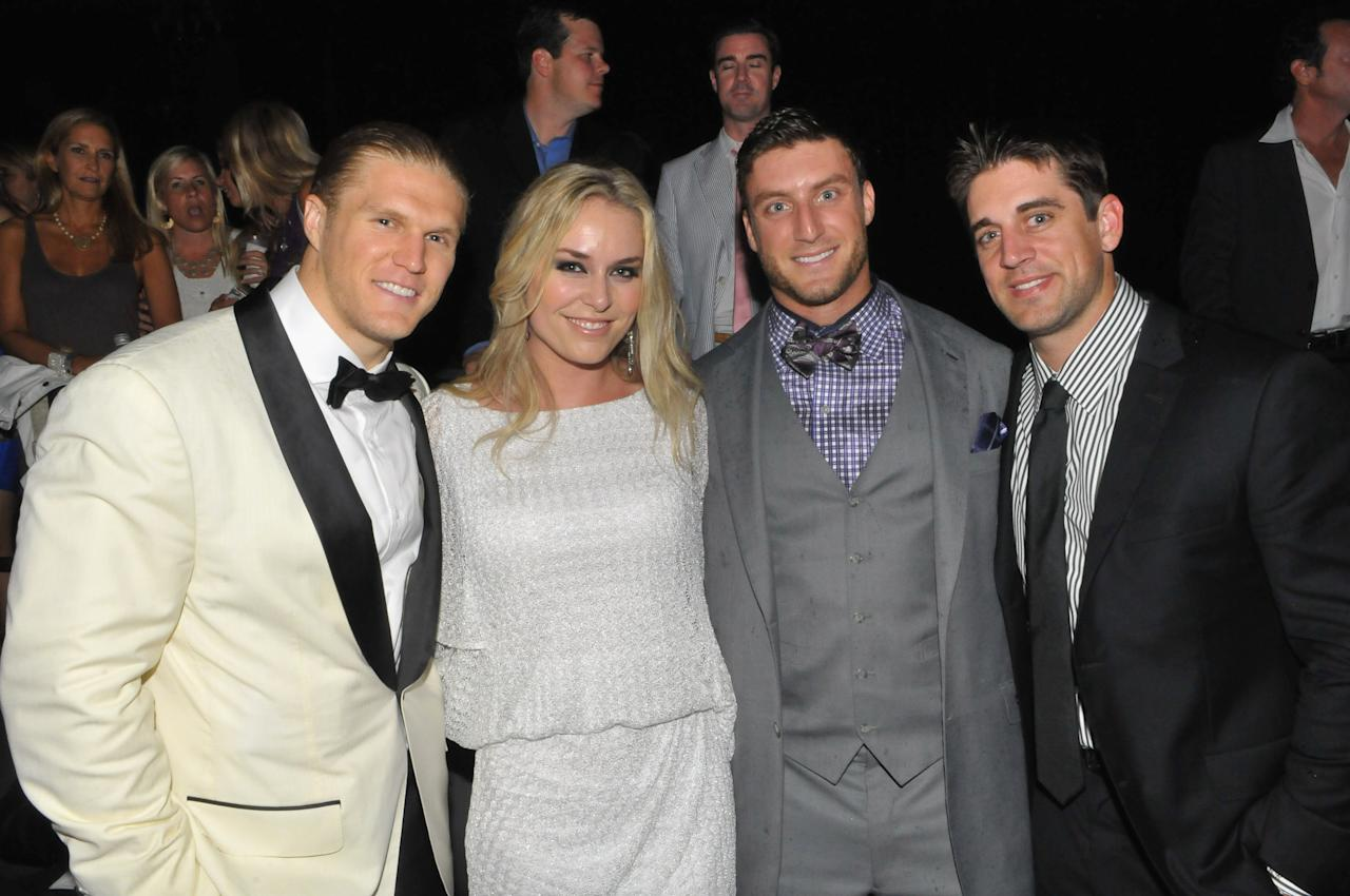 LOUISVILLE, KY - MAY 04:  Clay Matthews, Lindsey Vonn, and Aaron Rodgers attends Maxim Derby Eve With Bulleit Bourbon at Mellwood Arts & Entertainment Center on May 4, 2012 in Louisville, Kentucky.  (Photo by Stephen Cohen/Getty Images for Bulleit Bourbon)
