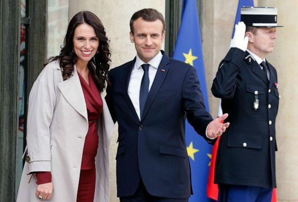 PHOTO: French President Emmanuel Macron welcomes New Zealand's Prime Minister Jacinda Ardern prior to their meeting at the Elysee Palace on April 16, 2018, in Paris. (Chesnot/Getty Images, FILE)