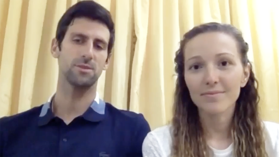 Novak Djokovic and his wife Jelena are pictured on an Instagram video, where they announced a large donation to Serbian health authorities.