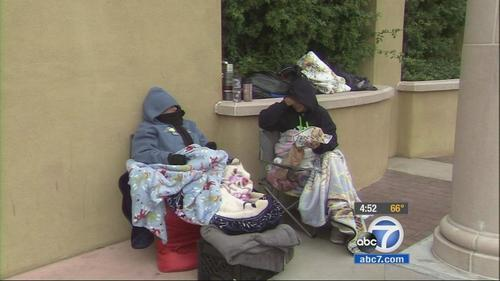 Women camped outside a Best Buy