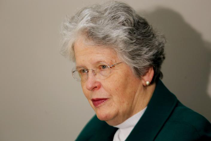 Safety advocate Joan Claybrook, who is also a former NHTSA administrator, before giving a speech about safety recalls at Wayne State Law School on April 2, 2014.