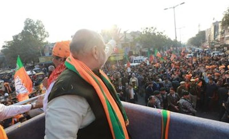 File picture of Home Minister Amit Shah during a rally in Delhi's Madipur. Image/Twitter