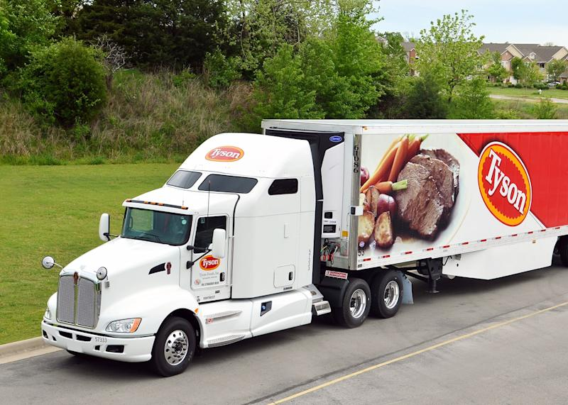Tyson foods semi tractor with prepared beef and vegetable meal on the trailer.