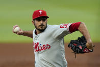 Philadelphia Phillies starting pitcher Zach Eflin delivers in the first inning of a baseball game against the Atlanta Braves, Friday, May 7, 2021, in Atlanta. (AP Photo/John Bazemore)