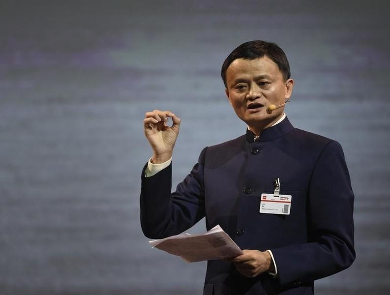 Alibaba founder and chairman Ma makes a speech during the official opening of the CeBIT trade fair in Hanover